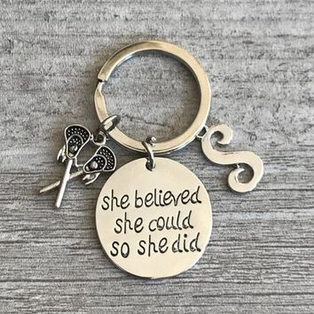 Personalized Lacrosse Keychain - She Believed She Could So She Did