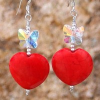 Handmade Heart Earrings Red Magnesite Butterflies OOAK Unique Jewelry
