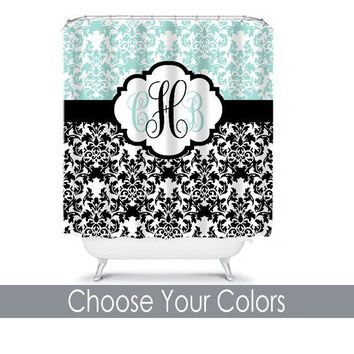 Damask SHOWER CURTAIN, Aqua Black Bathroom, Custom MONOGRAM Personalized Bathroom Decor, Damask Bathroom, Bath Towel or Plush Bath Mat