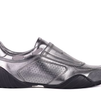 Dior Womens Silver D-Fence Leather Suede Low Top Sneakers