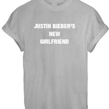 JUSTIN BIEBER NEW GIRLFRIEND SASSY CUTE LADY BELIEBER WOMEN T SHIRT TOP TEE NEW - GREY