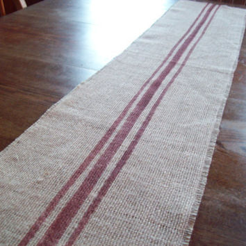 Hand Painted Grain Sack Style Burlap Table by NorthCountryComforts
