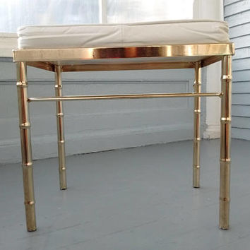 Vintage, Vanity, Chair, Bench, Metal, Faux, Bamboo, Upholstered, Vinyl, Home Decor, Bedroom Decor, Bathroom Decor, RhymeswitgDaughter