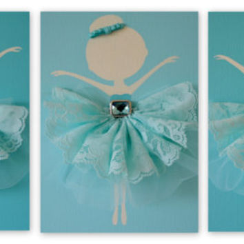Dancing Ballerinas Wall Art. Set of three dancing ballerinas.
