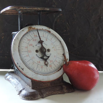 Antique Pelouze Scale Vintage 1900's Rustic Country Farm House Family Scale Photo Movie Prop Industrial Display Decor