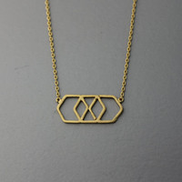Geometric necklace -  Available color as listed ( Gold, Silver, Pink Gold )