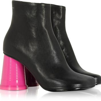 MM6 Maison Martin Margiela Black Leather Ankle Boots w/Pink Cup Heels