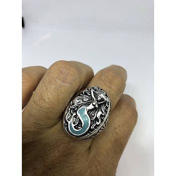 Vintage 1980's Southwestern Real Turquoise Mermaid Men's Ring
