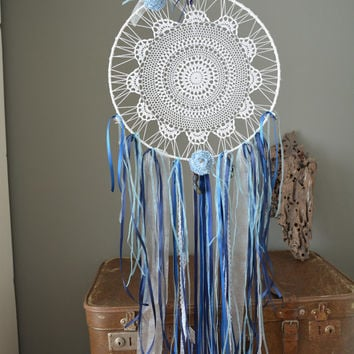 A vintage lace doily dream catcher in Blue and White shades --- A vintage elegant touch or an special present