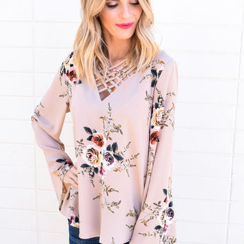 Marrabell Floral Bell Sleeve Top