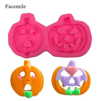 Facemile 1PCS 3D Pumpkin With Buck-Toothed Hallowmas Silicone Cake Decorating Mold Sugar Resin Craft DIY Cake Fondant Mold