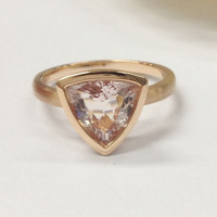 Trillion Morganite Engagement Ring 14K Rose Gold 9mm Solitaire Bezel Set