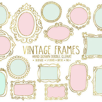 SALE. Gold Frames Clipart. Digital Hand Drawn Frames. Mint & Pink Labels Clip Art. Golden Metallic Borders. Pink, Mint, Gold Doodle Frames