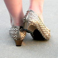 Metallic Wedge Low Heel Shoes. Vintage woven leather flats by Margaret Gerrald. Size 9. Summer Flats. Gold Bronze White Brown