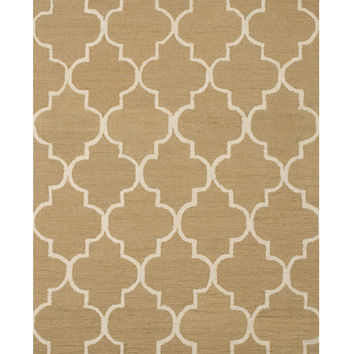 Hand-tufted Wool Light Gold Traditional Trellis Moroccan Rug