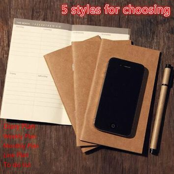 Diary Book Kraft Paper Travel Notebook Notepad (Diary Plan,Weekly Plan,Monthly Plan,Line Plan)