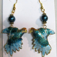 Parrot Earrings Cloisonne, Double Sided Puffed,Teal color, Handcrafted