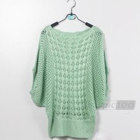 Knitted Batwing Hollow Casual Loose Pullover Sweater Jumper Tops Women Free Size