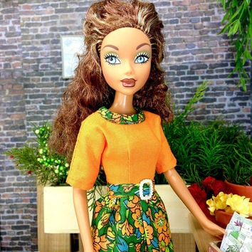 Barbie Doll Dress- Orange and Green Floral Print Doll Dress and Shoes For Barbie & Other 11.5 inch Dolls of Similar Size and Design