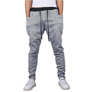 MK 2017 Slim Drawstring Elastic Waist Sweatpants Trousers Men Harem Pants Men'S Big Pockets Man Cargo Joggers