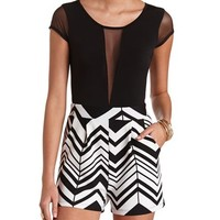 MESH CUT-OUT CHEVRON OPEN BACK ROMPER