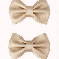 FOREVER 21 Edgy Faux Leather Hair Bows