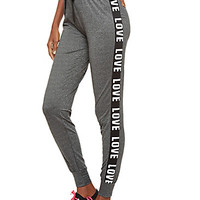 Love Graphic Striped Leg And Waistband Joggers With Drawstring