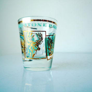 Midcentury Souvenir Shot Glass YELLOWSTONE, Vintage Shot Glass, Souvenir Shot Glass, SALE