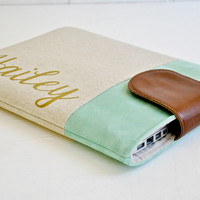 Personalized Laptop Sleeve Mist & Gold