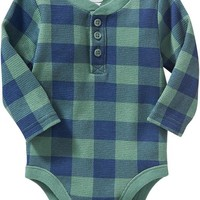 Old Navy Waffle Knit Henley Bodysuits For Baby