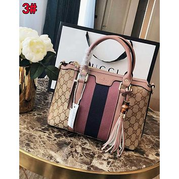 Gucci Fashionable Women Leather Tassel StripeHandbag Tote Shoulder Bag Satchel 3#