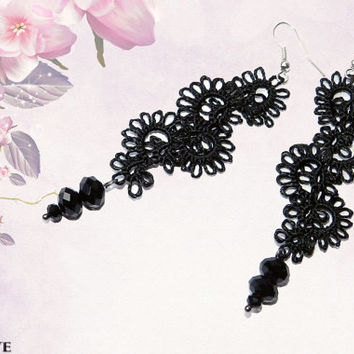 Tatted earrings - Gothic earrings - Dangle earrings - Chandelier earrings - Long earrings - Tatted jewelry - Gothic style