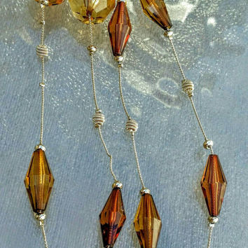 Vintage Stunning Art Deco Two Tone Clear Amber Topaz Faceted Bead Necklace
