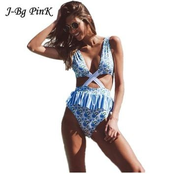 New Women Swimsuit Ruffle One-Piece Swimwear Floral Backless Bathing Suit Swimwear Monokini Beach Wear Bodysuit