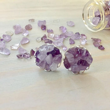 Amethyst Stud Earrings - Purple Stone Earrings - Purple Bridesmaid Earrings - Purple Stone Jewelry - Amethyst Jewelry - Raw Stone Earrings
