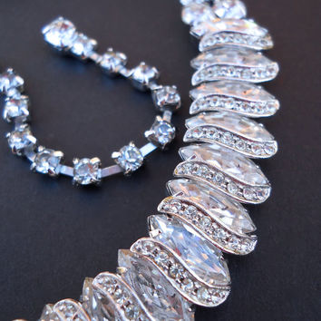 Clear Ice Rhinestone WEISS Necklace, Marquis & Round, Signed Vintage