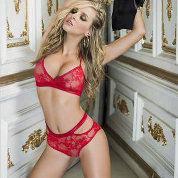 Red Lace Lingerie Set with Wrist Ties