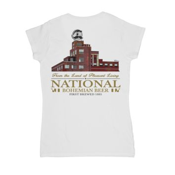 Brewer's Hill - National Bohemian Beer (White) / Ladies V-Neck Shirt