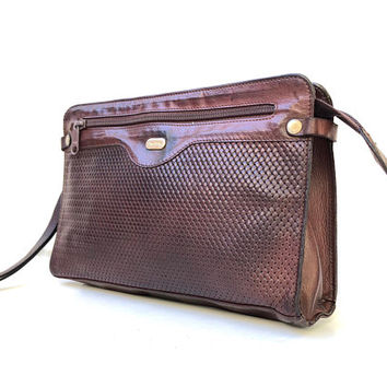 OROTON!!! Vintage 1970s 'Oroton' chocolate brown leather clutch bag with embossed woven look finish and carry strap