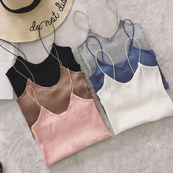 Elastic Slim Tank Top Strap Low Cut