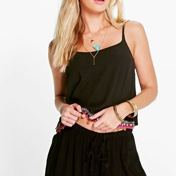 Poppy Boutique Coin Trim And Embroidery Beach Short   Boohoo
