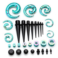 PiercingJ 64 Pieces 12g-00g-1/2 Inches Acrylic Plug Taper / O Ring Plug Gauge/ Tunnel/ Spiral Gauge Kit - 32 Pairs