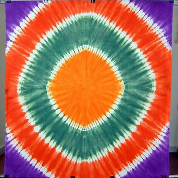 Tie and Dye Indian Tapestry Spiral Printed Wall Hanging Cotton Double Bed Sheet