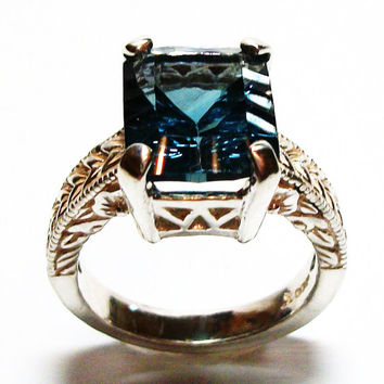 """Teal fluorite ring, fluorite ring, fluorite, emerald cut fluorite, solitaire ring, s 7 """"Teal Tears"""""""