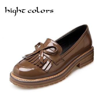Vintage British Style Thick Heel Tassel Sweet Bow Patent Women Slip-on Casual Flat Oxford Shoes Fashion Girls Loafers Shoes 43