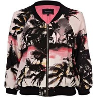 pink palm tree print bomber jacket - jackets - coats / jackets - women - River Island