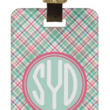 Personalized Luggage Tag or Briefcase Tag - Girly Green Plaid