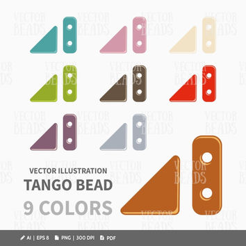 Czech Two-hole Tango Beads Clip-art Pack - Beads vector graphic