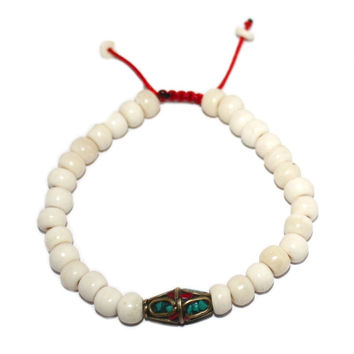 Turquoise medium white bone Adjustable wrist mala