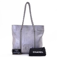 Authentic CHANEL Metalic Silver Leather CC Logo Silver Chain Shoulder Bag